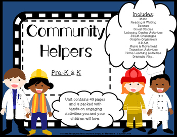 Community Helpers Math Literacy STEM  activities   -----   games & more 43 pgs