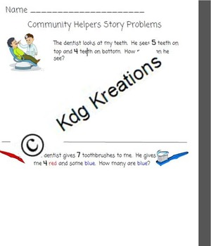 Community Helpers- Math- Story Problems