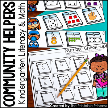 Kindergarten Community Helpers Centers for Math and Literacy Activities