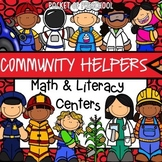 Community Helpers Math and Literacy Centers for Preschool, Pre-K, and Kinder