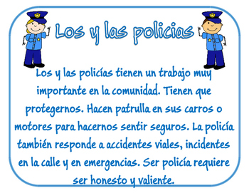 Community Helpers MiniPosters in spanish/Ayudantes de la Comunidad Mini-Murales