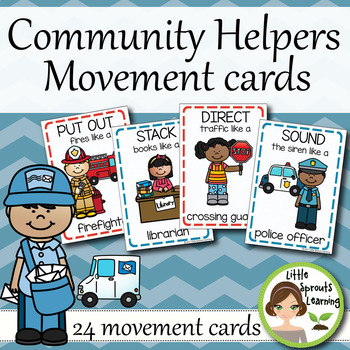 Community Helpers Movement Cards (Transition Activity or Brain Breaks)