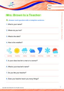 Community Helpers - Mrs. Brown Is a Teacher - Grade 1