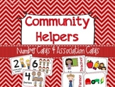 Community Helpers Number and Association Cards - Preschool Social Studies