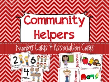 Community Helpers Number and Association Cards - Preschool