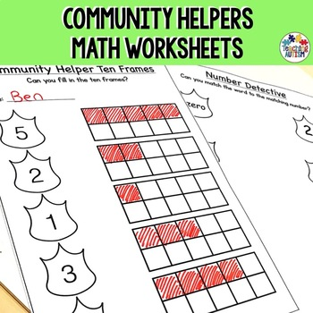 Community Helpers Math Worksheets by Teaching Autism | TpT