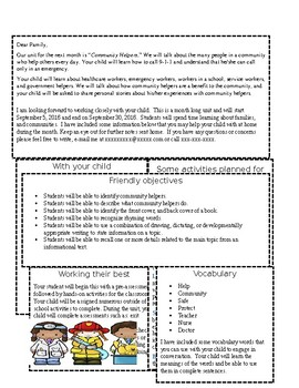 Community Helpers Parent Letter