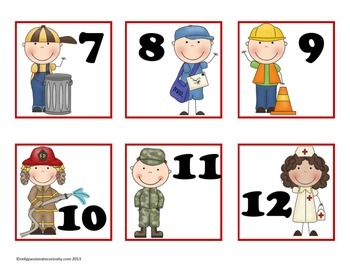 Community Helpers Pocket Chart Calender Cards (July, August, September)