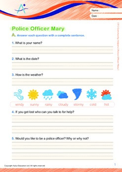Community Helpers - Police Officer Mary (with 'Triple-Track Writing Lines')