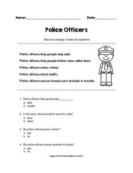 Community Helpers - Police - Worksheet Pack (K-1)