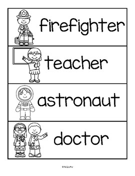Community Helpers Predictable Emergent Reader Featuring 12 Careers, Word Wall