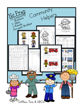 Community Helpers..Reading, Writing, and No Prep Activities