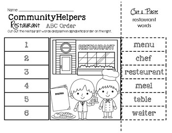 Community Helpers (Restaurant Words) ABC Order
