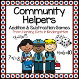 Community Helpers Roll & Cover Addition & Subtraction Games!