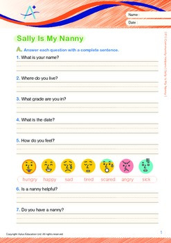 Community Helpers - Sally Is My Nanny (with 'Triple-Track Writing Lines')