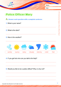 Community Helpers - Police Officer Mary - Grade 1