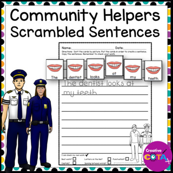 Community Helpers Build a Sentence and Scrambled Sentence Writing