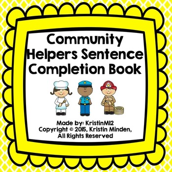 Community Helpers Sentence Completion Book