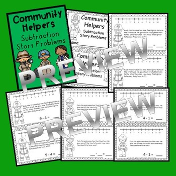 Community Helpers Subtraction Story Problems Book (from 10)