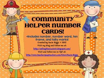 Community Helpers Ten Frame Number Cards