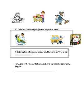 Community Helpers Test 1