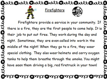 Community Helpers Text - Main Idea and Details Web