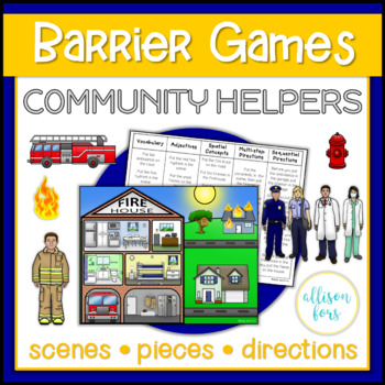 Community Helpers Themed Barrier Games Speech Therapy