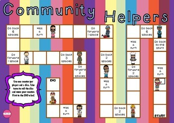 Community Helpers Themed Game Board