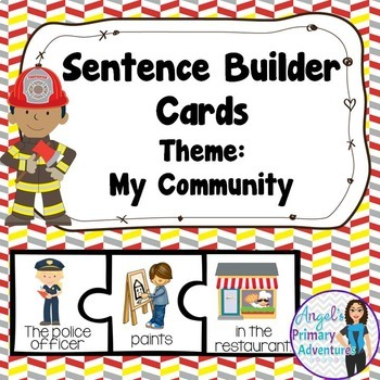 Community Helpers Themed Sentence Builder Cards