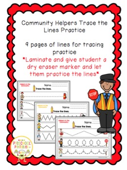 Community Helpers Trace the Lines Practice
