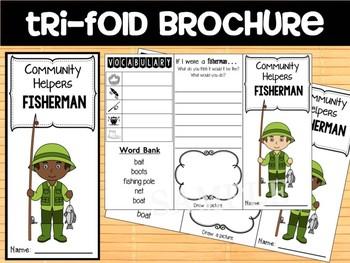 Community Helpers Tri-fold  Graphic Organizers : Fisherman, fishermen