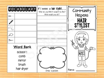 Community Helpers Tri-fold  Graphic Organizers : Hair Stylist