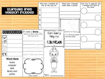 Community Helpers Tri-fold  Graphic Organizers : Librarian