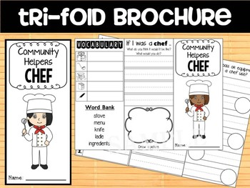 Community Helpers Tri-fold and Graphic Organizers : Chef : trifold brochure