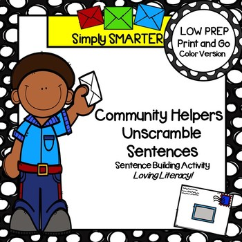 LOW PREP Community Helpers Themed Sentence Building Activity