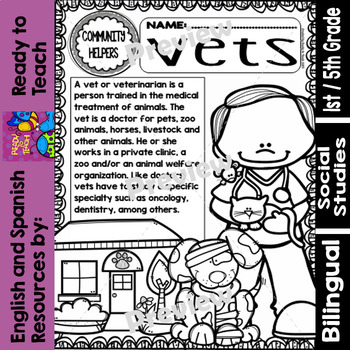 Community Helpers - Vets - Veterinarios (Bilingual Set) | TpT