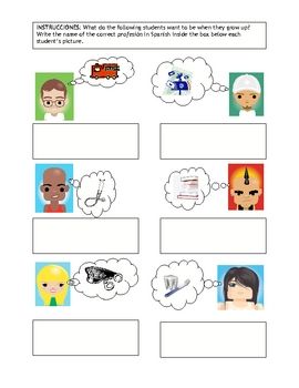 Community Helpers Vocab page and Activity pages for Spanish