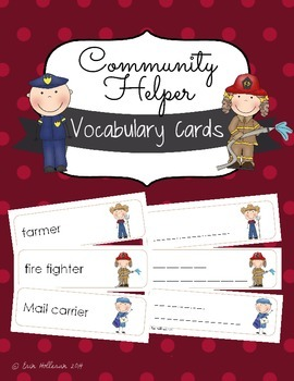 Community Helpers Vocabulary Cards and Spelling Practice