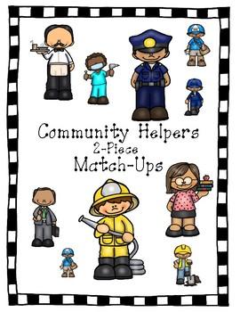 Community Helpers Vocabulary Match-Ups (puzzles)