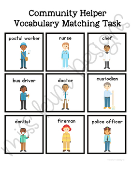 Community Helpers Vocabulary Folder Game for Early Childhood Special Education