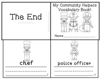Community Helpers Vocabulary Writing Practice Mini-Book