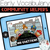 Community Helpers WH Questions: Vocabulary Boom Cards Dist