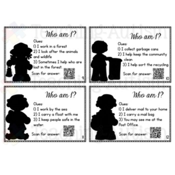 Community Helpers - Who Am I? QR Code Task Cards