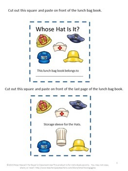 Community Helpers Whose Hat Is It? Lunch Sack Book Centers or Stations