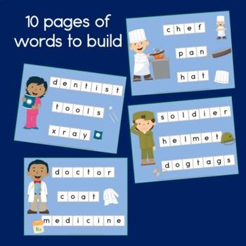 Community Helpers Word Building for Preschool and Kindergarten