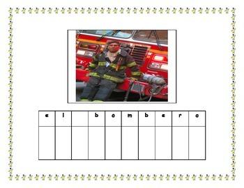 Community Helpers Word Building Center Activity / Spanish / Dual Language