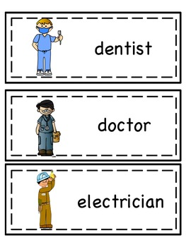 Community Helpers Word Lists and Word Wall Cards