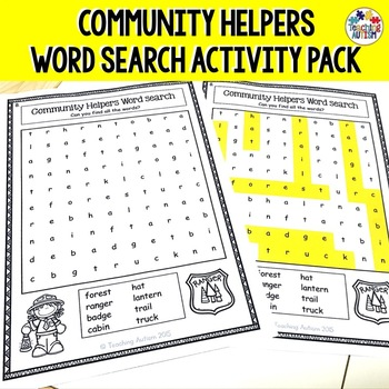 Community Helpers Word Search Worksheets