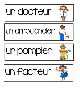 Community Helpers - Word Wall French Immersion