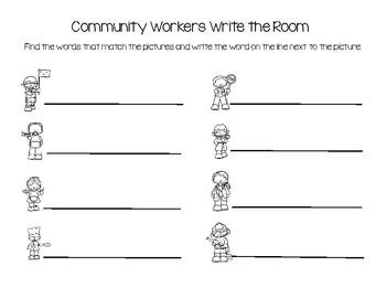 Community Helpers/Workers Write the Room
